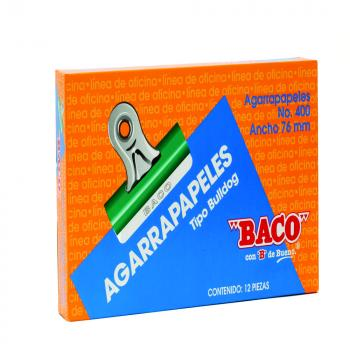 AGARRAPAPEL BACO BULL-DOG No.400 VERDE 76MM C/12
