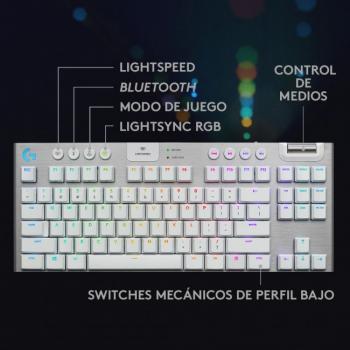 TECLADO LOGITECH G915 TKL LIGHTSPEED WIRELESS RGB BLANCO (920-009660)