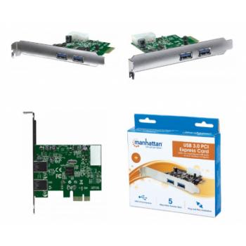 TARJETA USB 3.0 MANHATTAN PCI EXPRESS 2 PTOS 151375