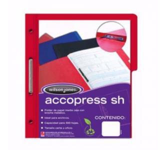 Carpeta Acco Press Media Ceja Oficio C/Broche Color Rojo C/10