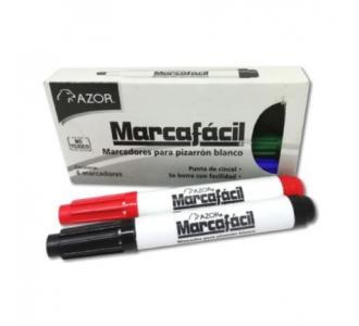 Marcador MarcaFácil P/Pizarrón Punta Cincel Colores Surtidos C/4 Pzas