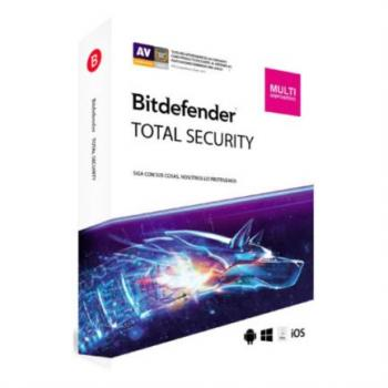 Licencia Antivirus Bitdefender Total Security MD 1 Año 3 Usuarios Caja