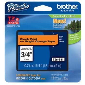 CINTA BROTHER TZ-B41 NEGRO/NARANJA 18MM PT300/310B/330/530
