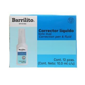 Corrector Líquido Barrilito Dual Bote 10ml Caja C/12 Pzas