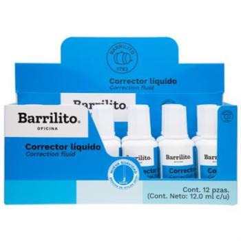 Corrector Líquido Barrilito Bote 12ml Caja C/12 Pzas