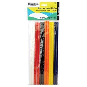 Barras de Silicón Barrilito 7mm Colores Surtidos Bolsa C/12 Pzas