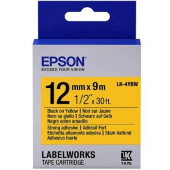 Cinta Epson LabelWorks Adhesivo Fuerte 12mm Negro Sobre Amarillo