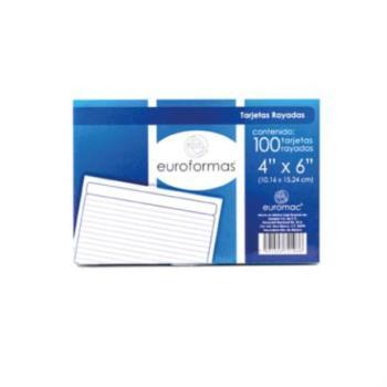 Tarjeta Euroformas bibliografica blanca 4x6 c/100