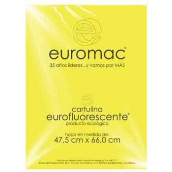 CARTULINA EUROMAC FLUORESCENTE AMARILLO 47.5X66CM C/10