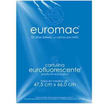 CARTULINA EUROMAC FLUORESCENTE AZUL 47.5X66CM C/10