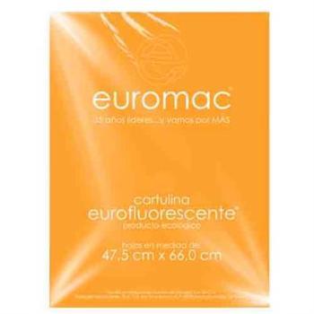 CARTULINA EUROMAC FLUORESCENTE PAPAYA 47.5X66CM C/10
