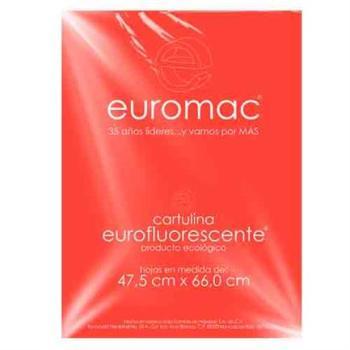 CARTULINA EUROMAC FLUORESCEMTE ROJO 47.5X66CM  C/10