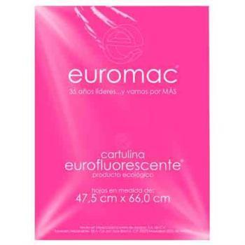 CARTULINA EUROMAC FLUORESCENTE ROSA 47.5X66CM  C/10