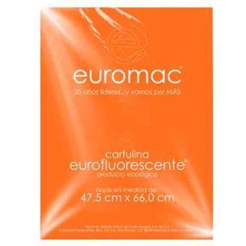 CARTULINA EUROMAC FLUORESCENTE NARANJA 47.5X66CM C/10