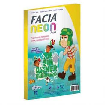 PAPEL FACIA VISION NEON AMARILLO TAMAÑO CARTA C/100 HJS
