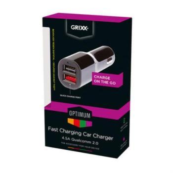 CARGADOR AUTO GRIXX RAPIDO 2X USB 4.5A QUALCOMM 2.0