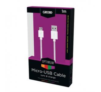 Cable Grixx Micro USB Nylon 3m Color Blanco