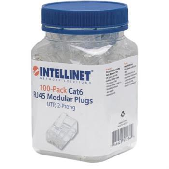 Plug Intellinet RJ45 Cat 6 UTP Multifilar 15 Micras Bote C/100 Pzas