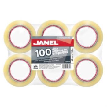 Cinta Janel 155 Empaque Transparente 48mmx150m Paquete C/6 Pzas