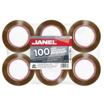 Cinta Janel 156 Empaque Canela 48mmx50m Paquete C/6 Pzas