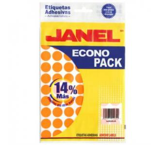 Etiquetas Adhesivas Janel Econopack 00x13mm Color Naranja Sobre C/1120