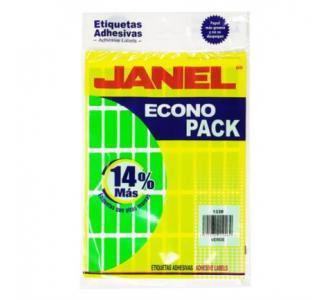 Etiquetas Adhesivas Janel Econopack 13x38mm Color Verde Sobre C/400