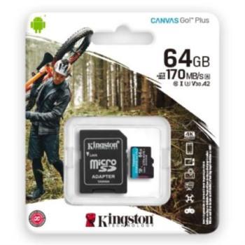 Memoria MicroSD Kingston Canvas Go Plus 64 GB 170R A2 U3 V30 Color Negro
