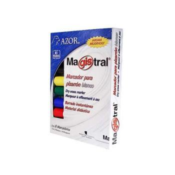 MARCADOR MAGISTRAL PLASTICO P/PIZARRON EST. 8 COLORES