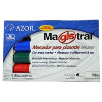 MARCADOR MAGISTRAL COLORES PIZARRON BCO PLASTICO C/4 PZAS