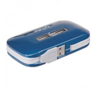 Hub Manhattan USB Alta Velocidad 2.0 Alimentación Dual 7 Puertos Color Azul