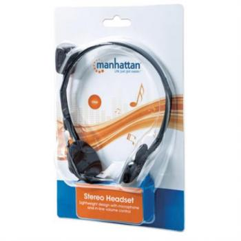 Audífonos Manhattan Alámbricos Micrófono Estándar Color Negro-Plata