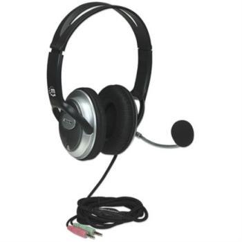 Audífonos Manhattan Estéreo Clásicos Micrófono Extensión Metálica Flexible Color Negro-Plata