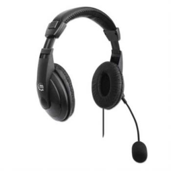 Audífonos Manhattan Estéreo USB Micrófono Ajustable Control Integrado Color Negro