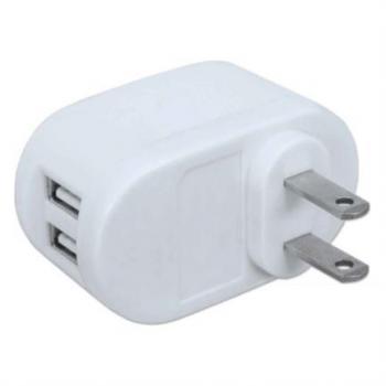 Cargador USB Manhattan para Casa PopCharge NEMA 5-15 2 Puertos USB Color Blanco