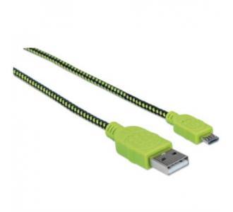 Cable Manhattan Micro-B USB Alta Velocidad 1m Color Negro-Verde