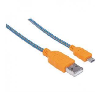 Cable Manhattan Micro-B USB Alta Velocidad 1m Color Azul-Naranja