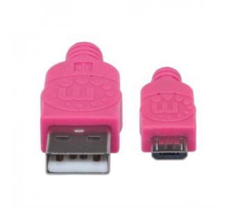 Cable Manhattan Micro-B USB Alta Velocidad 1m Color Rosa-Morado
