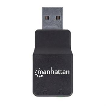 Adaptador Manhattan Sonido Estéreo USB Alta Velocidad a Puertos 3.5mm Color Negro