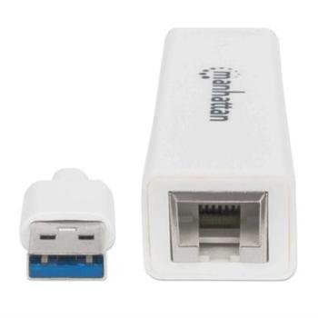 Adaptador Manhattan Súper Velocidad USB 3.0 a RJ-45 GB Ethernet Color Blanco