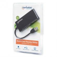Lector y Grabador Manhattan Externo de Tarjetas 62 en 1 Súper Velocidad USB 3.0 Color Negro