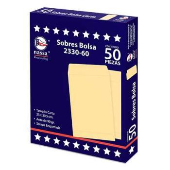 SOBRE BOLSA NASSA CARTA ANTE 8PQTES C/50 23X30.5 CMS