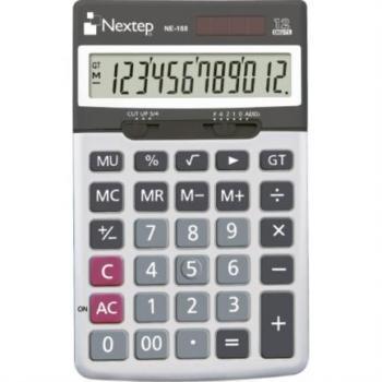 Calculadora Nextep 12 Dígitos Cubierta Metálica Semiescritorio Batería Solar