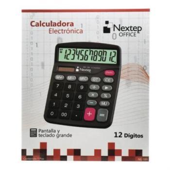 Calculadora Nextep 12 Dígitos Pantalla Grande Escritorio Batería/Solar