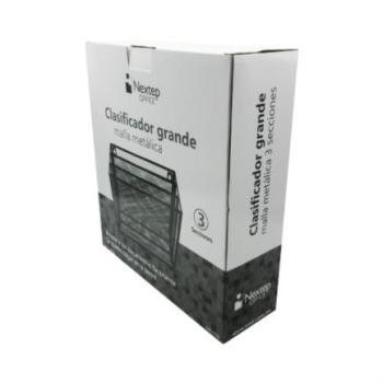 Clasificador Nextep Malla Metálica 3 Niveles Grande Caja Blanco-Negro