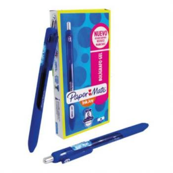 Bolígrafo Gel Paper Mate Eco Azul c/6 Piezas