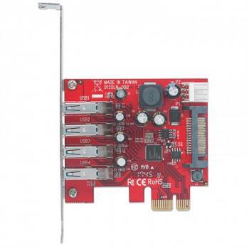 TARJETA USB 3.0 MANHATTAN PCI-E 4 PTOS BRACKET CORTO 152884