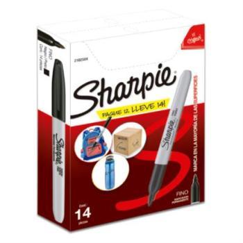 Marcador Permanente Sharpie Punta Fina Color Negro C/12+2