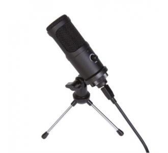 Micrófono Gamer Xzeal XZ250 Cardiode Trípode Filtro Anti POP USB Color Negro