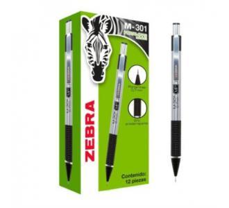 Lapicero Zebra M301 Punta 0.7mm Color Negro C/12 Pzas